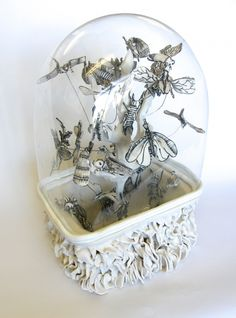 Living in a Bubble by Katharine Morling Porcelain and black stain, glass and wire