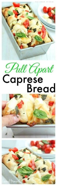Pull Apart Caprese Bread - Delicious homemade dough topped with fresh tomatoes, basil and mozzarella. This bread makes the perfect summer appetizer!