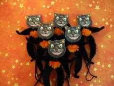 Primitive Halloween Black Cat Vintage Style Ornaments Chenille Feather Tree New picclick.com