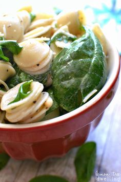 Spinach, Pine Nut & Parmesan Pasta Salad. Simple & delicious!!