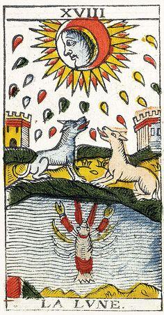 Tarot de Marseille Heritage - Pierre Madenié, Dijon 1709 - La Lune