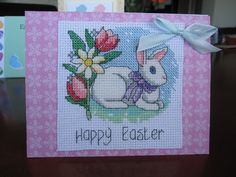 A cross stitched Easter card I made