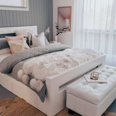 Moonlight Fluffelbuster Faux Fur Throw by Amigos de Hoy. Get it now or find more Throw Rugs & Blankets at Temple & Webster. Room Decor Bedroom Rose Gold, Grey And Gold Bedroom, Marble Bedroom, Room Ideas Bedroom, Small Room Bedroom, Home Decor Bedroom, Bedroom Inspo, Bedroom Wall, Teen Bedroom Designs