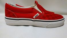 Vans Youth Little Kid Old Skool Red Checkerboard Slip On Canvas Shoes Size  1M  fashion 835041b38