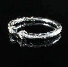 Pair Of Handmade Screw Head West Indian Sterling Silver Bangles Sterling Silver Bangles