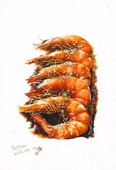 Shrimp Illustration - New Sites Fake Food, Food N, Food And Drink, Food Art Painting, Dessert Illustration, Food Sketch, Watercolor Food, Food Icons, Food Drawing