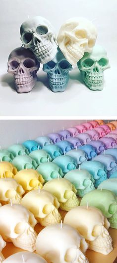Pastel skull candles - set of three - 100% soy wax