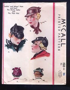 McCall 158 1933-McCall-Pattern-Ladies-Breton-Sailor-Visor-Hat-With-Scarf