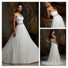 New Design Romantic Sweetheart Beaded Waist Wedding Dress Beach A-line Chiffon Wedding Gown $209.00