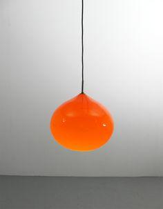 Gino Vistosi Onion orange large pendant light glass