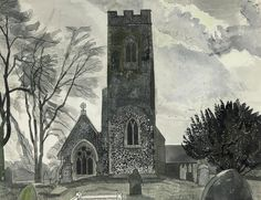 View St Mary's, Marlingford IV By Edward Bawden; pencil, ink and watercolour; Edward Gorey, Landscape Paintings, Landscapes, Landscape Art, Royal College Of Art, Printmaking, Illustrators, Modern Art, Illustration Art