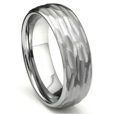 Tungsten Carbide Hammer Finish Dome Wedding Band Ring Sz 10.0