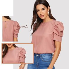 Lenshin o-neck petal sleeve bow shirt Gray blouse female elegant short sleeve women wear casual top ladies Style design - Formal Blouses, Cute Blouses, Blouses For Women, Trendy Plus Size Clothing, Plus Size Outfits, Plus Size Fashion, Glam Style, Sleeves Designs For Dresses, Fancy Tops