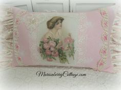 Vintage image Pink Roses pillow shabby cottage charm