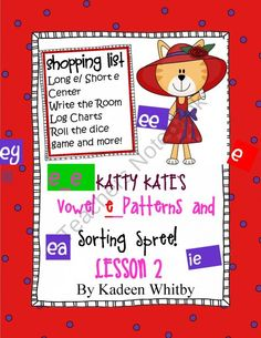 Katty Kates Long E/Short e sorting center and activities product from Kadeen-Whitby-Shop on TeachersNotebook.com