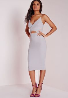 Missguided - Scuba Strappy Cut Out Midi Dress Grey