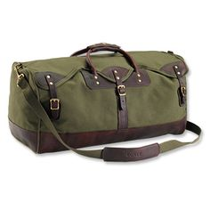 """Gokey® Heritage Duffle, Orvis, 12""""H x 25""""W x 12½""""D, Pure cotton canvas, genuine leather, and nylon."""