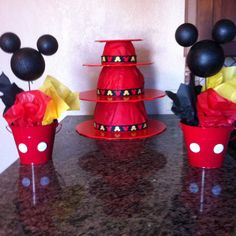 DIY Mickey Mouse cup cake stand using stacking kitchen bowls, wrapping paper & ribbon.