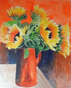 DAILY PAINTERS MARKETPLACE: SUNFLOWERS #5 WATERCOLOR PAINTING