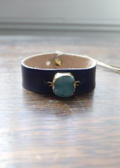 Dru  Navy Leather bracelet with Blue druzy stone by ToriLoDesigns