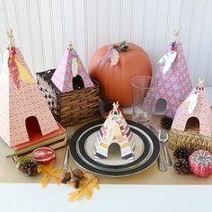 A Tribal Thanksgiving: Teepee decor and place cards by Aly Dosdall featuring the 123 Punch Board and Wildflower collection. Thanksgiving Place Cards, Thanksgiving Crafts, Thanksgiving Decorations, Table Decorations, Woodsy Baby Showers, Christmas Countdown, Favorite Holiday, Paper Crafts, Punch Board