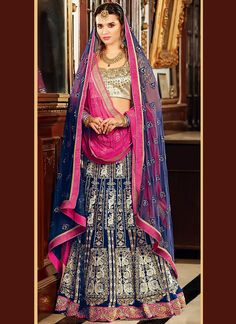 Remarkable Blue Velvet A Line Lehenga Choli