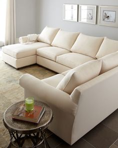 """""""Ellsworth"""" Neutral Three-Piece Sectional by Old Hickory Tannery at Horchow."""