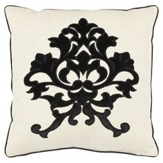 Add a pop of style to your favorite chaise or arm chair with this classic linen cotton pillow, featuring a damask-inspired print in onyx.      ...