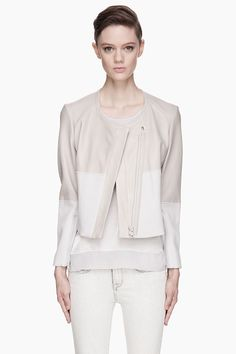 HELMUT LANG Oyster grey jersey and leather Jacket