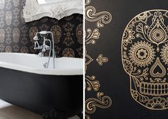 Mexican Day of the Dead Sugar Skull Wallpaper and Black Clawfoot Tub
