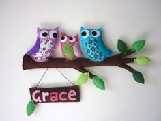 Personalized Owl Family Mom Dad and Baby  Bedroom von MaisieMooNZ, $79,00