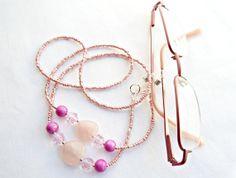 Pink Eyeglass Chain Rose Quartz Chain Glasses by GlitteramaCrafts, £8.00