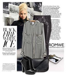 """""""ROMWE Pockets Chiffon Blouse"""" by biljana-miric-ex-tomic ❤ liked on Polyvore featuring H&M, Mansur Gavriel and Giuseppe Zanotti"""