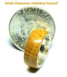 Jameson Irish whiskey barrel wood and silver half dollar coin ring Jameson Irish Whiskey, Coin Ring, Dollar Coin, Half Dollar, Unique Colors, Wood And Metal, Wedding Bands, Barrel, Coins