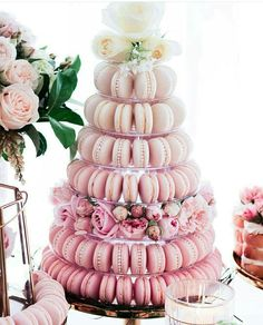 Jazz up your dessert table with a high dose of sweetness! We are super enchanted with this macaron tower in pink ombre shade, exuding a romantic and chic vibe. Floral / Macarons / Image via Macaroon Wedding Cakes, Macaron Cake, Wedding Sweets, Cupcake Cakes, Macaroons Wedding, Macaron Stand, Macarons, Pink Macaroons, Pink Dessert Tables