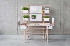 Modular workstation can be reshaped to fit any worker's needs.