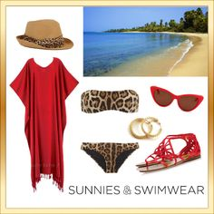 """""""Leopard Print & Red"""" by natz85 on Polyvore - Summer 2013 swimwear fashion look, leopard print and red, beach outfit, sunnies and sandals (For some reason I could see Rihanna wearing this!)"""