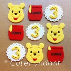 Winnie the Pooh fondant cupcake toppers