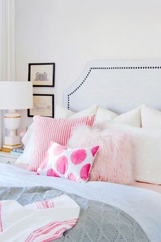 Pink pillow combination - pink and white bedroom - Jillian Harris' Eclectic Home Tour We LOVE Vancouver's Love It or List It Jillian Harris' Eclectic Home Tour which is full of unique family inherited antiques, modern day touches & gold accents. Dream Bedroom, Home Bedroom, Girls Bedroom, Bedroom Decor, Bedroom Ideas, Headboard Ideas, Pretty Bedroom, White Headboard, Bedroom Designs