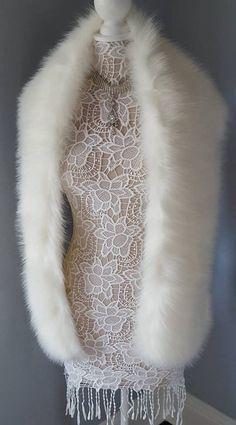 Faux Fur Bridal Wrap Stole | Ivory Fur Cape - Fur Shrug - Fling - Scarf - Wedding Fur Luxurious Fake Fur - Winter Wedding Bridal Shawl