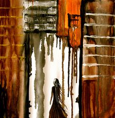 Lost by Laura Carter #abstractart #figureart #earthtones http://fineartamerica.com/featured/figurative-cityscape-painting-by-laura-carter-laura-carter.html