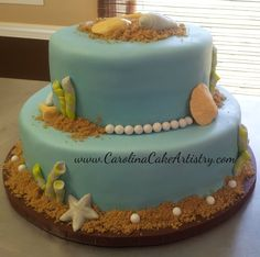 Beach Bridal Shower Cake!