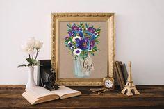 Flower prints wall art, Floral watercolor wall print,Printable art, Room decor, Floral print, Printable wall art, Home decor, Digital BD-528