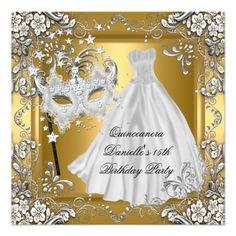 Shop Masquerade Quinceanera Birthday Mask Gold 2 Invitation created by Zizzago. Masquerade Party Invitations, Quinceanera Invitations, Quinceanera Party, Gold Invitations, Custom Invitations, Birthday Invitations, Vincent Van Gogh, Sweet 16 Masquerade, Masquerade Masks
