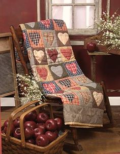 Heart quilt in Autumn plaids....country cosy.