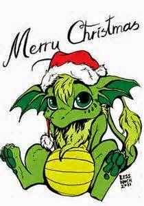 Christmas-Santa Dragon by Less Noch Dragon Hatchling Egg Baby Babies Cute Funny Humor Fantasy Myth Mythical Mystical Legend Dragons Wings Sword Sorcery Magic Art Fairy Maiden Whimsy Whimsical Drache drago dragon Дракон drak dragão