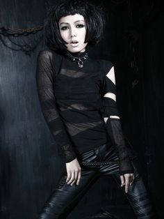 TheBlack Widow gothic topby Punk Rave is made from panels of stretch cotton and black cobweb mesh. This gothic top has long sleeves with slashes on the left sleeve. Gothic Tops, Gothic Shirts, Gothic Clothing, Angel Clothing, Women's Clothing, Angel Outfit, Gothic Metal, Dark Gothic, Punk Rave