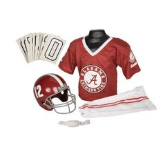 College Football Deluxe Uniform Set - Alabama - Pass along the college football tradition to your young fan with this official College Football Deluxe Uniform Set. Included is an official team jersey, team helmet with authentic logo and team colors, and team pants that will have them looking ready to take the field. The set also includes iron-on numbers (0-9) for the back of the jersey. - See more at: http://franklinsports.com/shop/college-deluxe-uniform-set