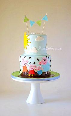 Boy Peppa Pig Cake   RoseBakes.com