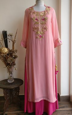 Light Powder Pink Georgette Kurta with Elaborate Pittan Gold Work and Side Tassels. It comes with a Hot Pink Flared Skirt. Indian Fashion Dresses, Dress Indian Style, Indian Outfits, Indian Attire, Indian Wear, Stylish Dress Designs, Stylish Dresses, Casual Dresses, Salwar Suit Neck Designs